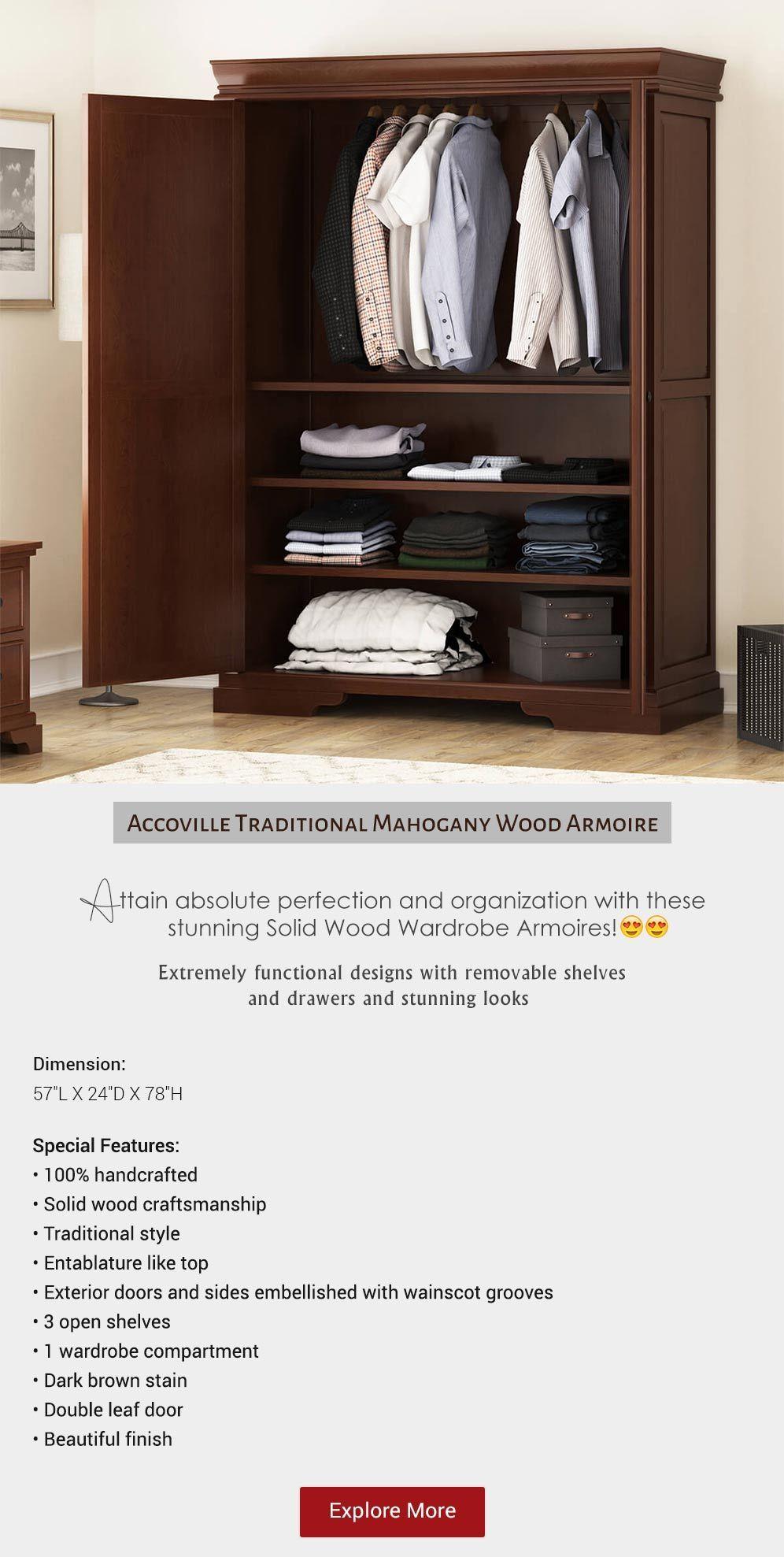 Handcrafted Bedroom Furniture Homedecor Decor Largewardrobefurniture Clothing Armoire Wood Armoire Mahogany