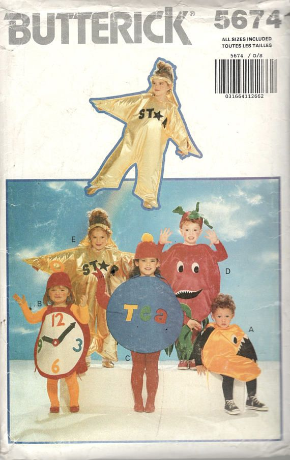 Butterick 35674 Boys Girl Clock Video Game Chomper Tomato Teapot Star Costume Pattern Toddlers Child Sewing Size XS S M L Chest 21- 25 UNCUT  sc 1 st  Pinterest & Butterick 35674 Boys Girl Clock Video Game Chomper Tomato Teapot ...