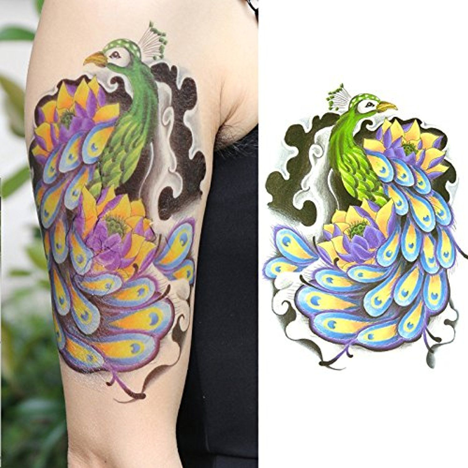 d1547b5dd Oottati Old School Peacock Feather Color Arm Temporary Tattoo * Click image  for more details. (This is an affiliate link) #BodyMakeupTattoos