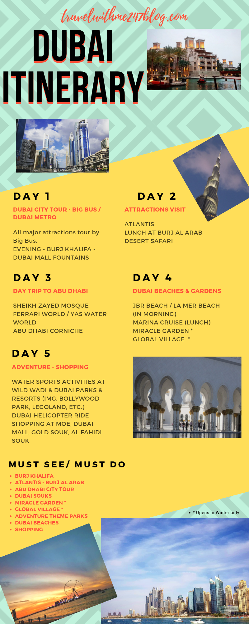 Things to do in Dubai in 5 days - Worth visiting places in Dubai for 5 days. Must do Activities in Dubai.  #UAE #Dubai #MiddleEast