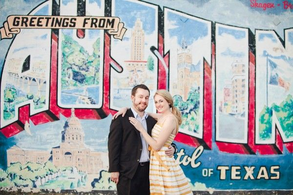 Engaged couple in front of the austin mural for engagement for Austin mural location