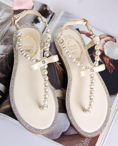 Ivory Women Pearls Beach Bridals Flip Flops Ivory Ladies Beach Wedding Sandals Bride Sandals Beach Wedding Sandals Bridal Flip Flops
