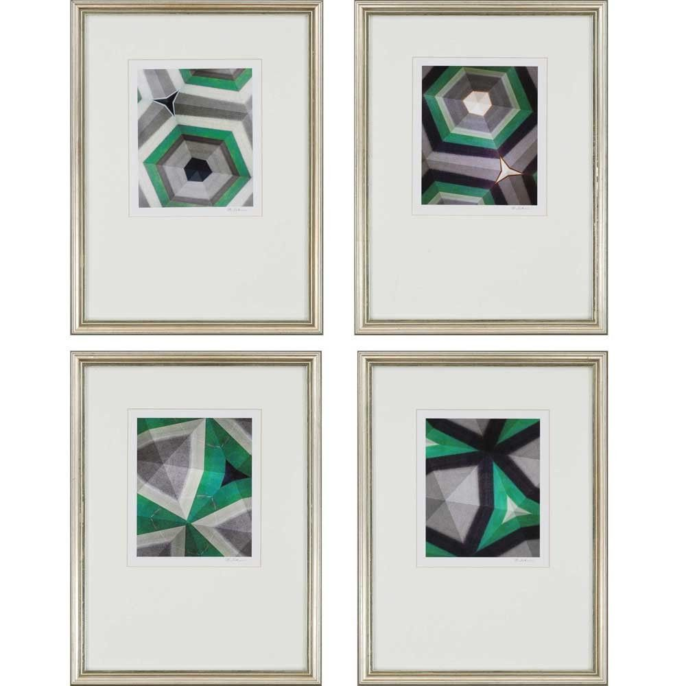 Geometrics Giclee by Sikes 4 Piece Framed Painting Print Set