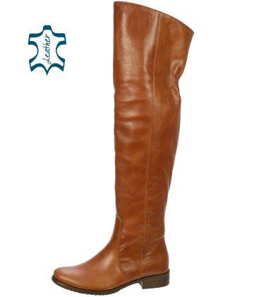 4da0a125a146 Hnedé vysoké čižmy z hladkej kože K200