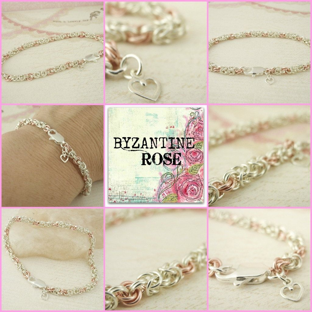 Byzantine rose in silver and pink bracelet breast cancer awareness