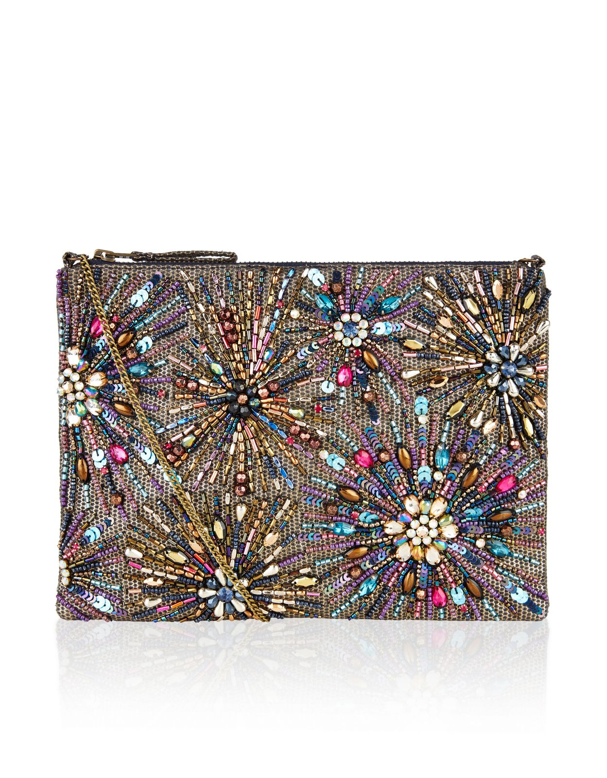 9d34131ad1 Stardust Firework Zip Top Clutch Bag | Multi | Accessorize | Evening ...