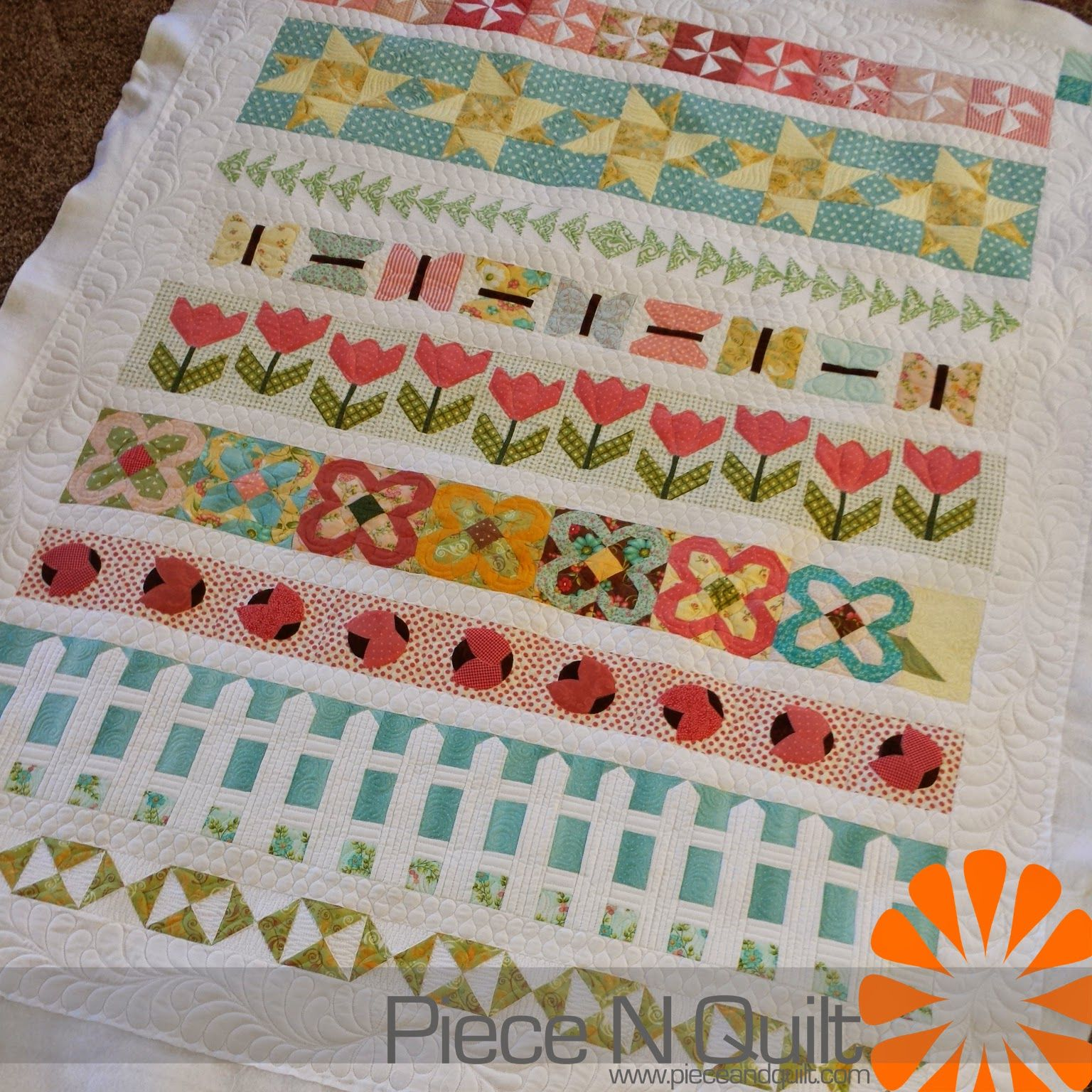 An Adorable Row Quilt Piece N Quilt Free Motion Quilting