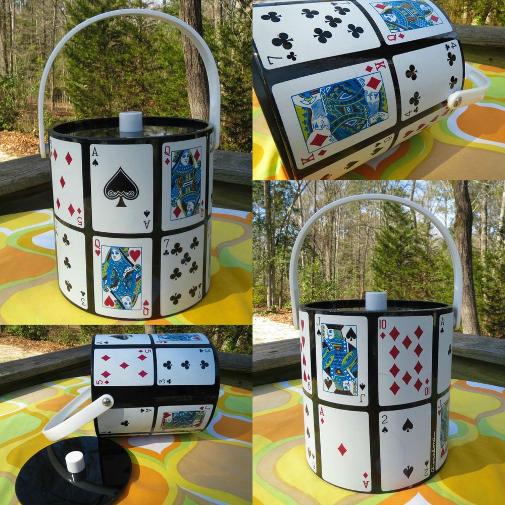 VTG 1970s Retro Man Cave Poker Night Black Cards Barware Cocktail Ice Bucket