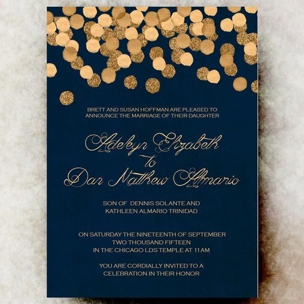 Navy And Gold Winter Wedding Invitation Myweddingdotcom