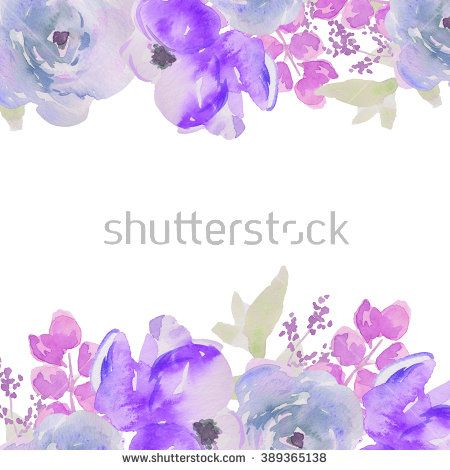 Blue Watercolor Flower Border Blue Watercolour Flowers Stock