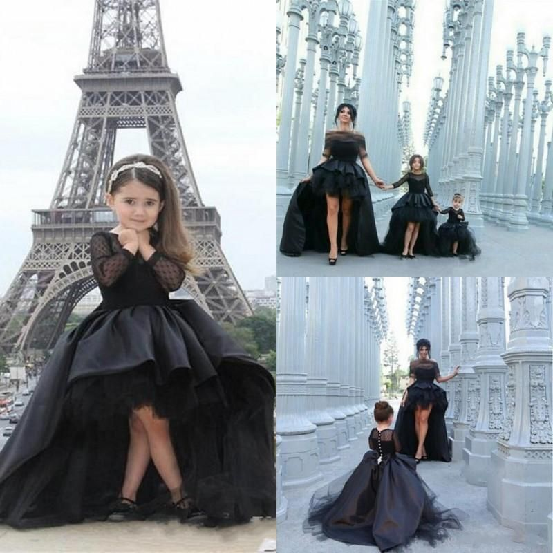 2016 Black High Low Girls Pageant Dresses Sheer Long Sleeves Ball ... 9f51ad6f89fb