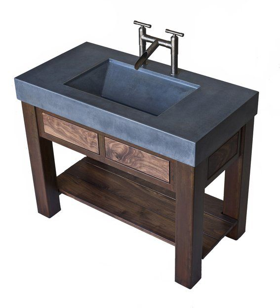 Custom Made Steel And Walnut Vanity With Integral Concrete Sink