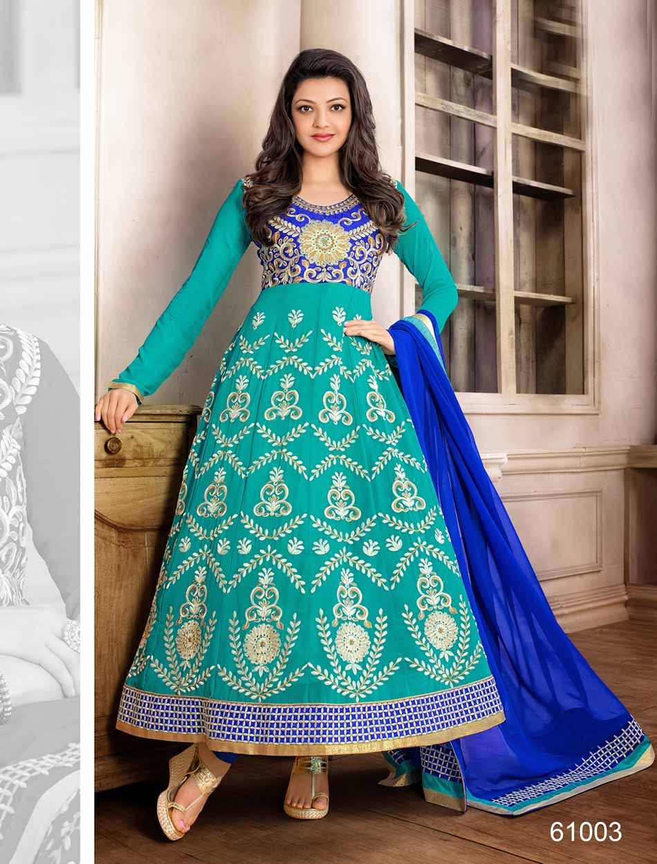 New traditional and attractive sky and blue anarkali suit | Anarkali ...