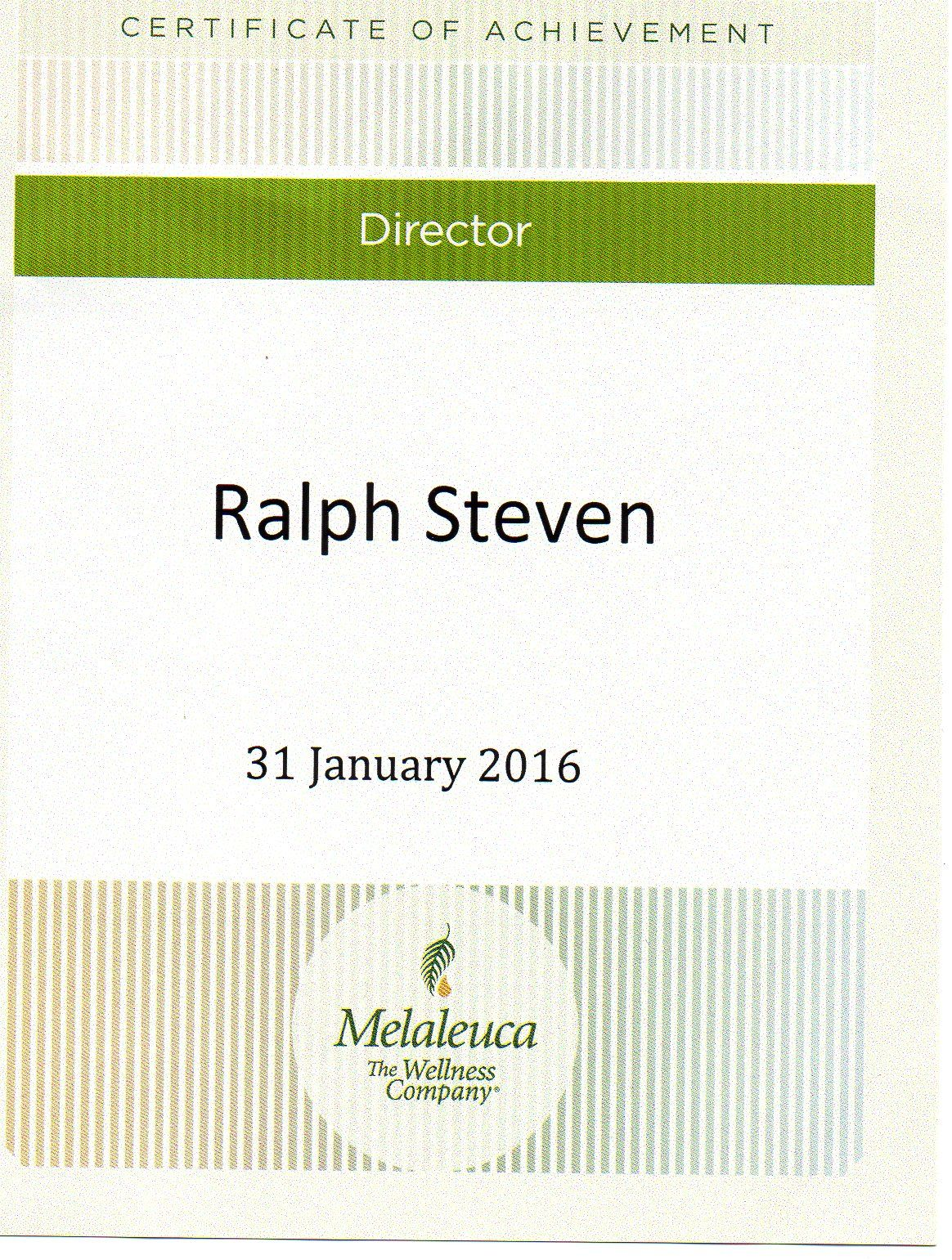 My Director Certificate Achievement Award  Melaleuca