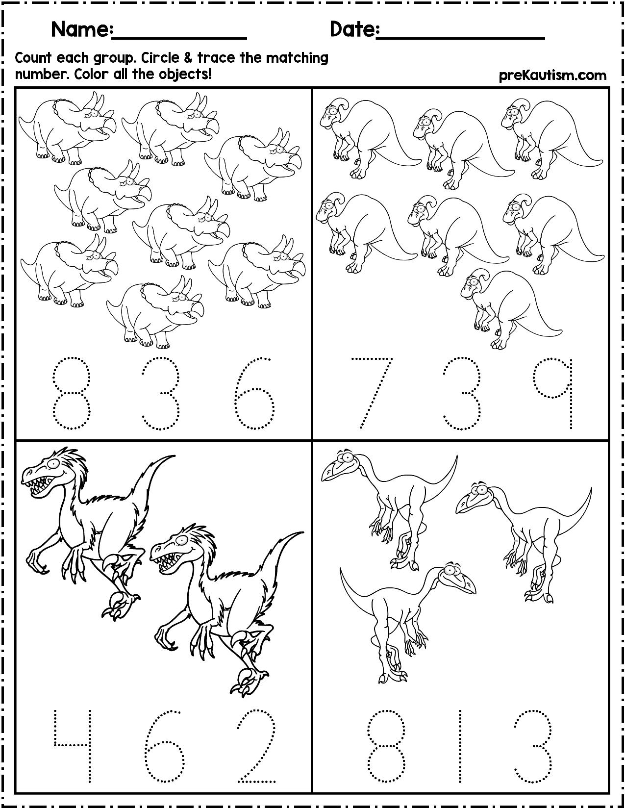 Dinosaur Count Amp Number Write