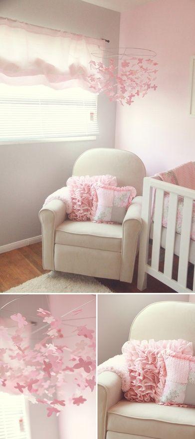 pretty pink and grey nursery Baby girl nursery room