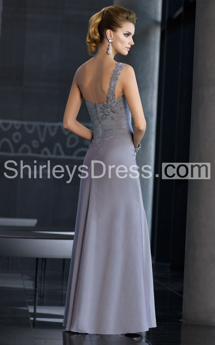 Elegant onesided draping chiffon and lace formal long dress with