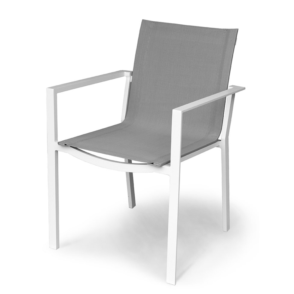 outdoor patio sling dining chair gray