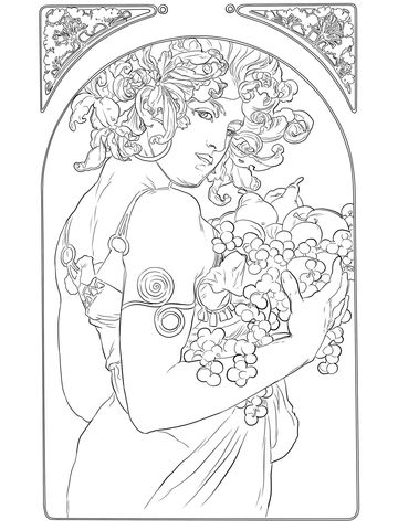 Ideal Alphonse Mucha Coloring Pages