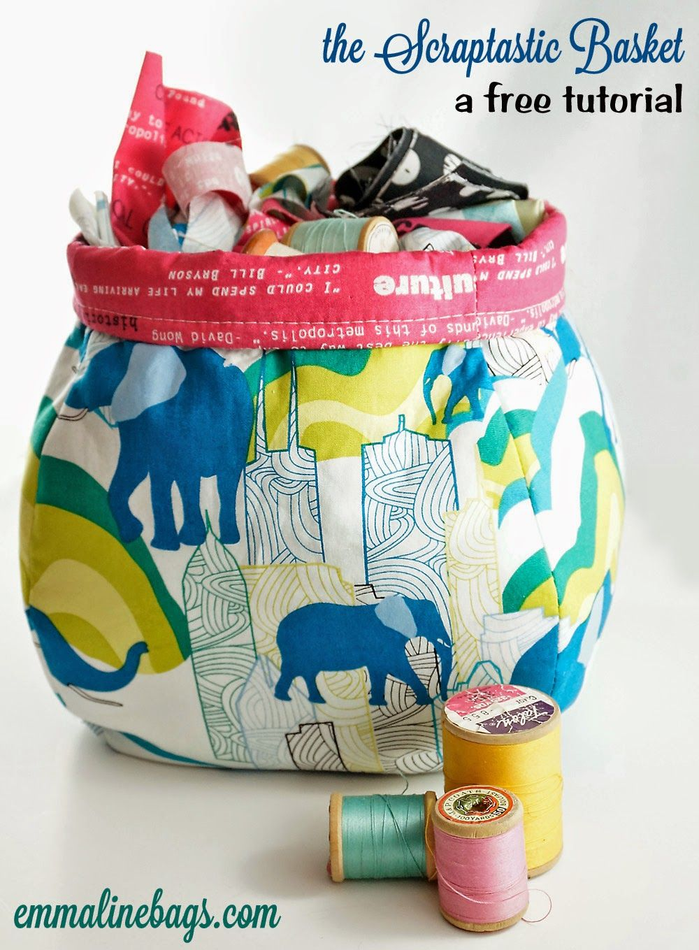 A free sewing tutorial to make a great scrap basket for fabrics, threads or anything messing up your sewing room.  Janelle