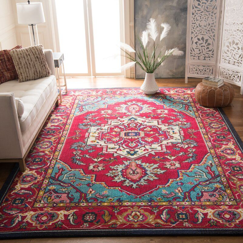 Tsukiji Oriental Bright Red Area Rug With Images Turquoise Rug