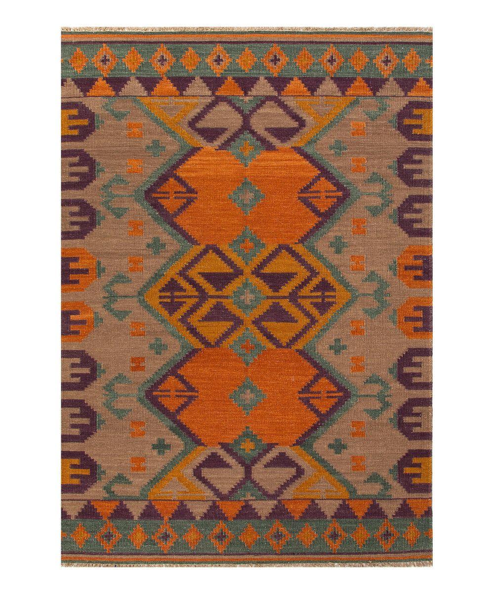 Orange Purple Anatolia Wool Rug Tribal Area Rug Wool Area Rugs Purple Area Rugs