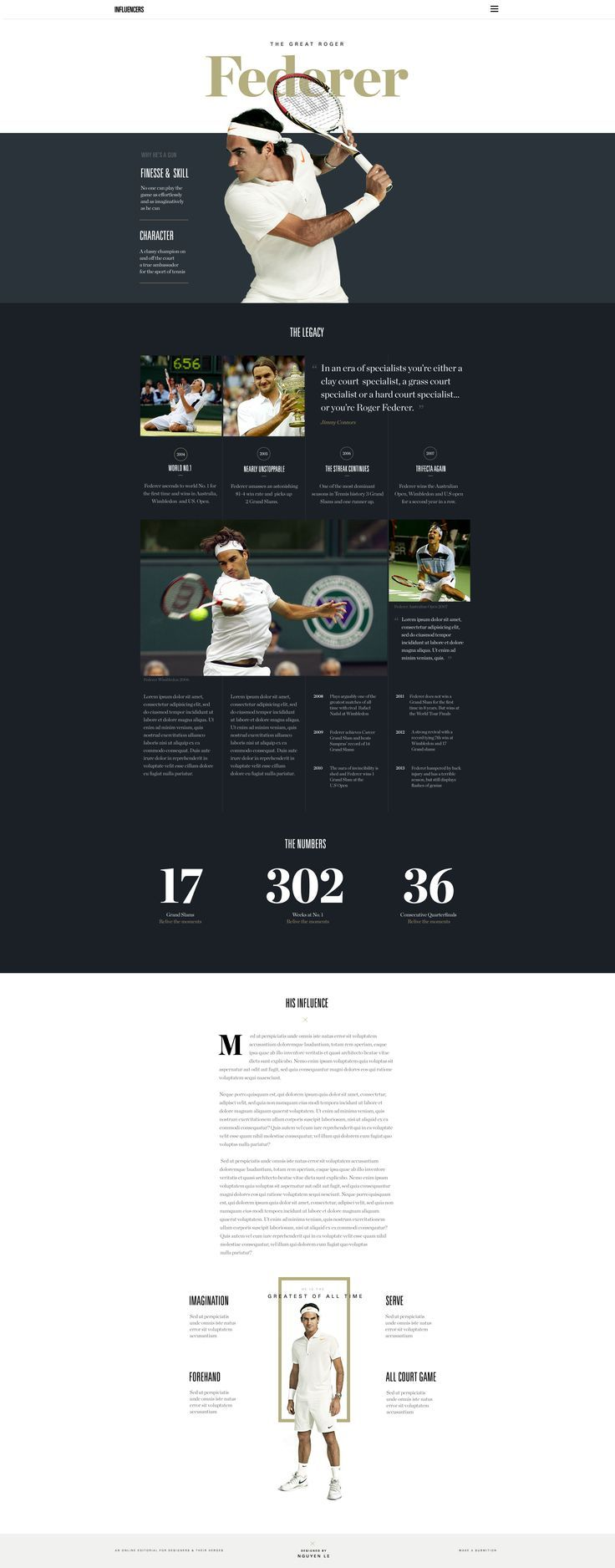 Influencers- Webdesign concept for Roger Federer / by Nguyen Le #ui #ux #uidesign #webdesign #RogerFederer