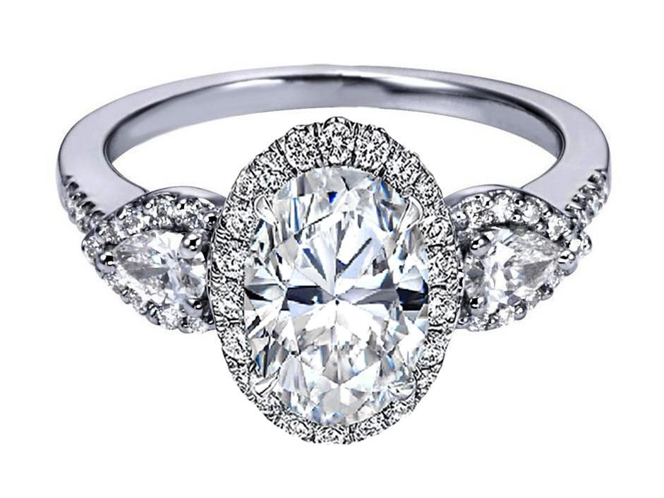Oval Engagement Rings With Pear Side Stones 16