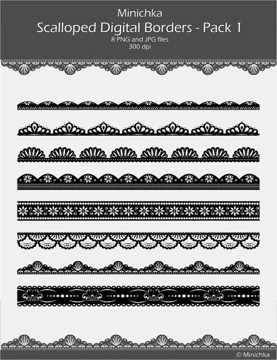 8 Black And White Scalloped Lace Digital Borders Pack1 By Minichka 2 50 Vector Border Clip Art Borders Border Pattern