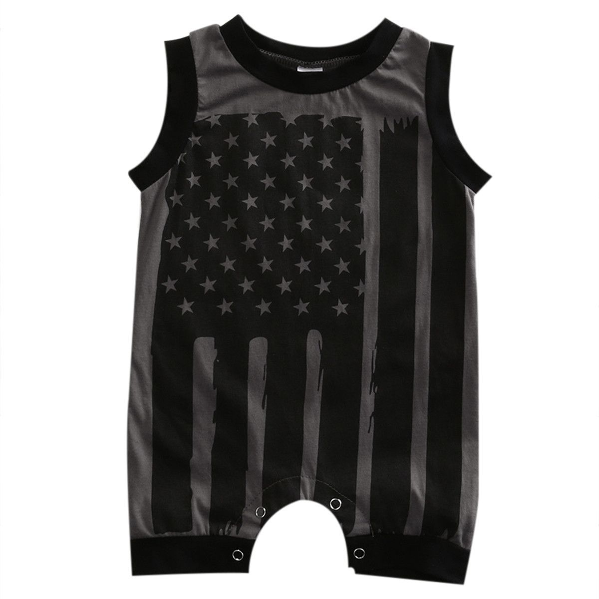 8724632e5ed7 Baby Boy s Sleeveless Stars   Stripes Romper Outfit