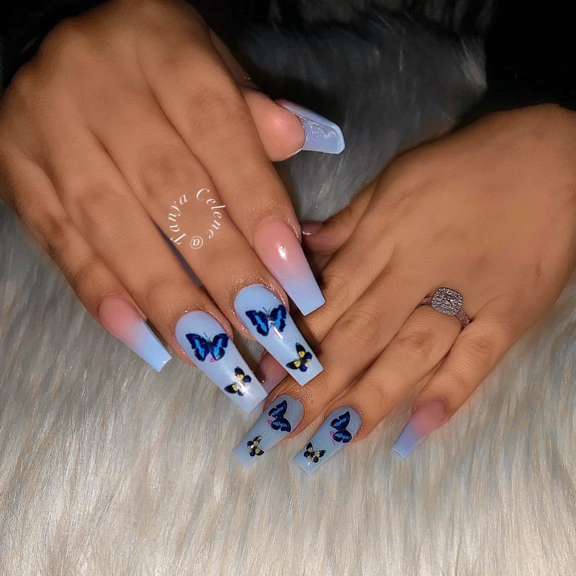 Blue Glitter Butterfly Coffin Acrylic Nails In 2020 Acrylic Nails Vintage Nails Pretty Acrylic Nails