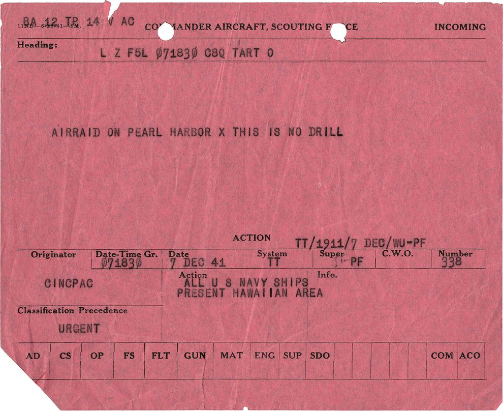 First telegram sent during Japanese attack; December 7, 1941 ...