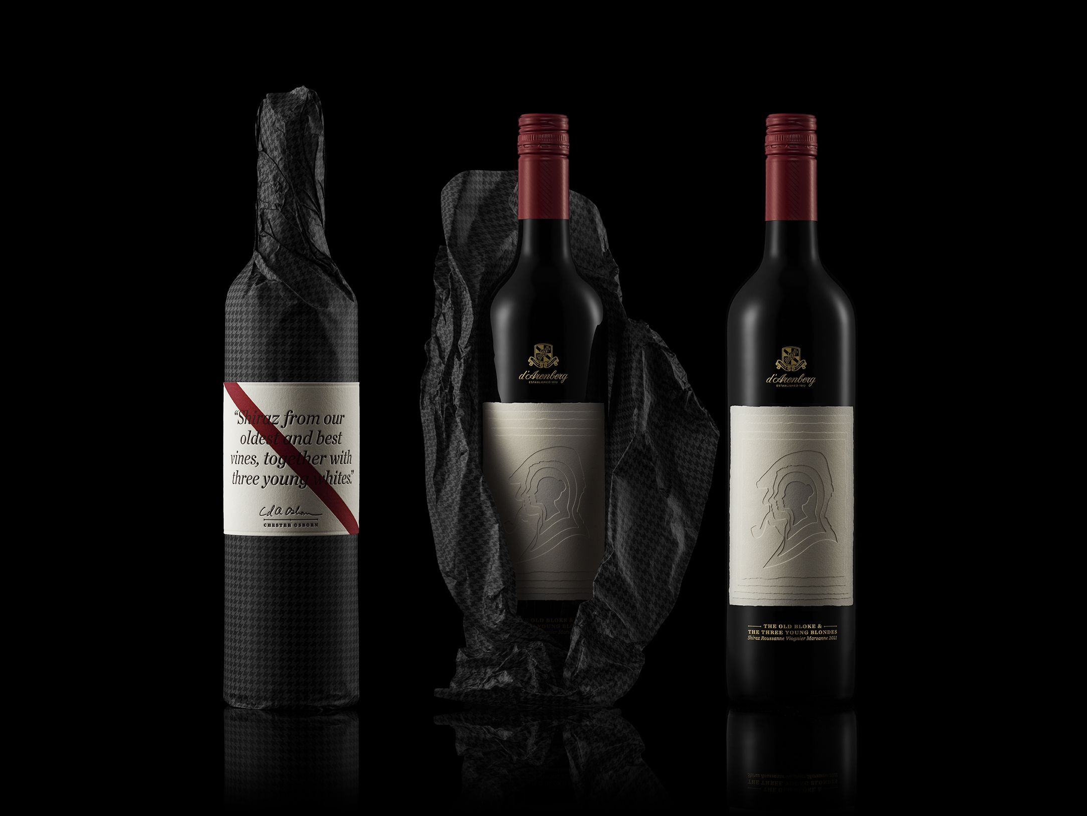 Four Characters As Diecut Silhouette On Limited Edition Wine Packaging Labels Wine Wine Packaging Wine Label Design