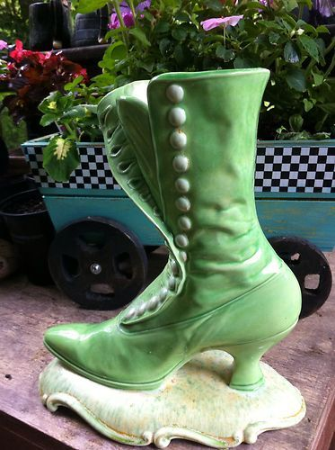 Vintage Ceramic Atlantic Molds Victorian Boot Vase Planter