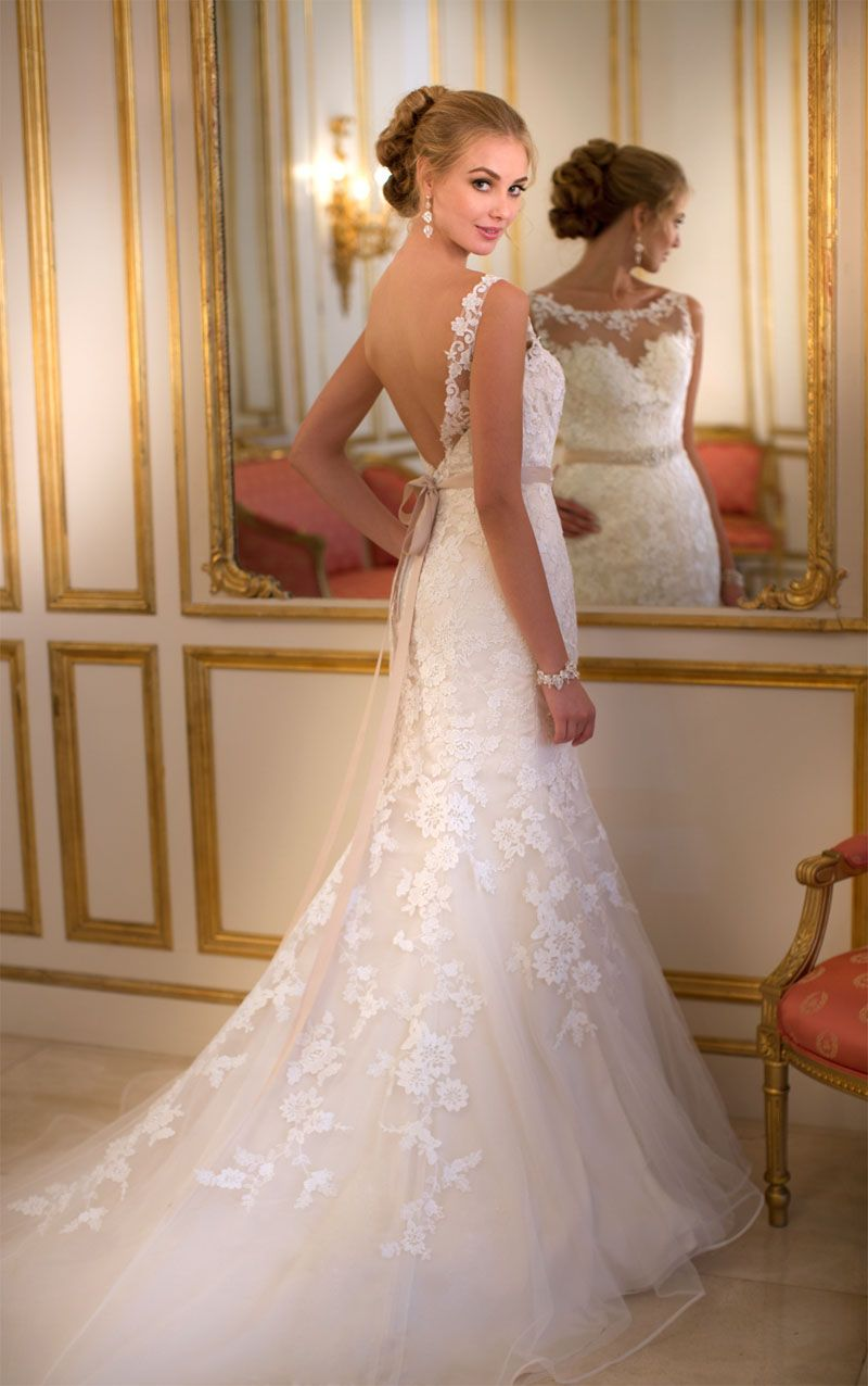 Backless Sleeveless Floral Lace Over Tulle Stunning Trumpet ...