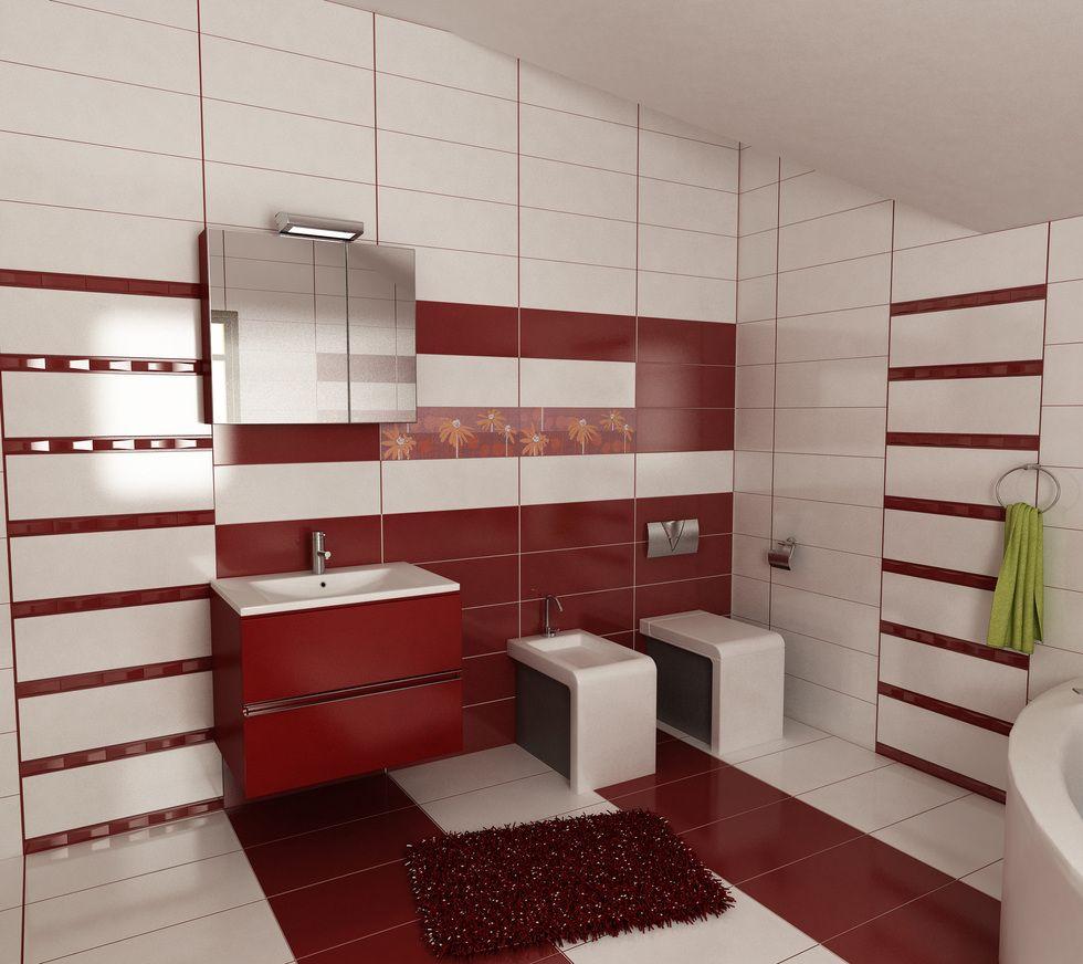 Bilder 3d interieur badezimmer rot wei 39 baie ral for Badezimmer fliesen rot