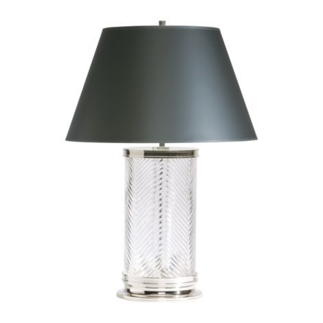 Ethan allen herringbone crystal table lamp with black opaque shade for master bedroom