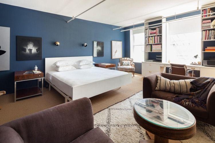 Schöne Raumgestaltung Mit Wandfarbe Petrol Für Einzimmerwohnung ... Schlafzimmer Farben Blau