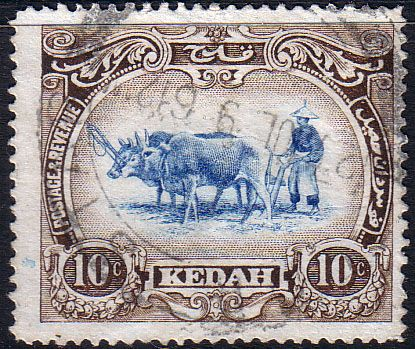 Kedah 1912 Ploughing SG 6 Fine Used Scott 10 Other Malay States Stamps HERE