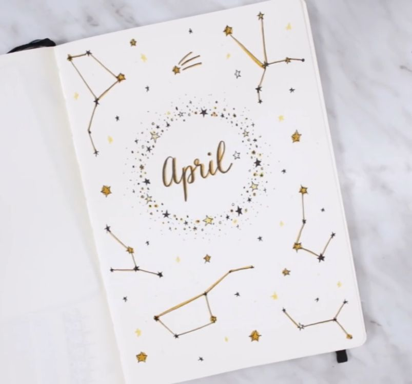 An April cover page for bullet journaling Bullet journal - what is a cover page