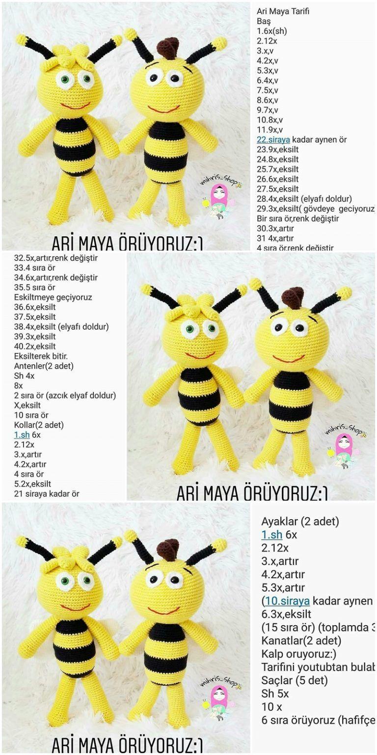 Amigurumi Bee (Arı Maya) Free Crochet Pattern #crochettoysanddolls