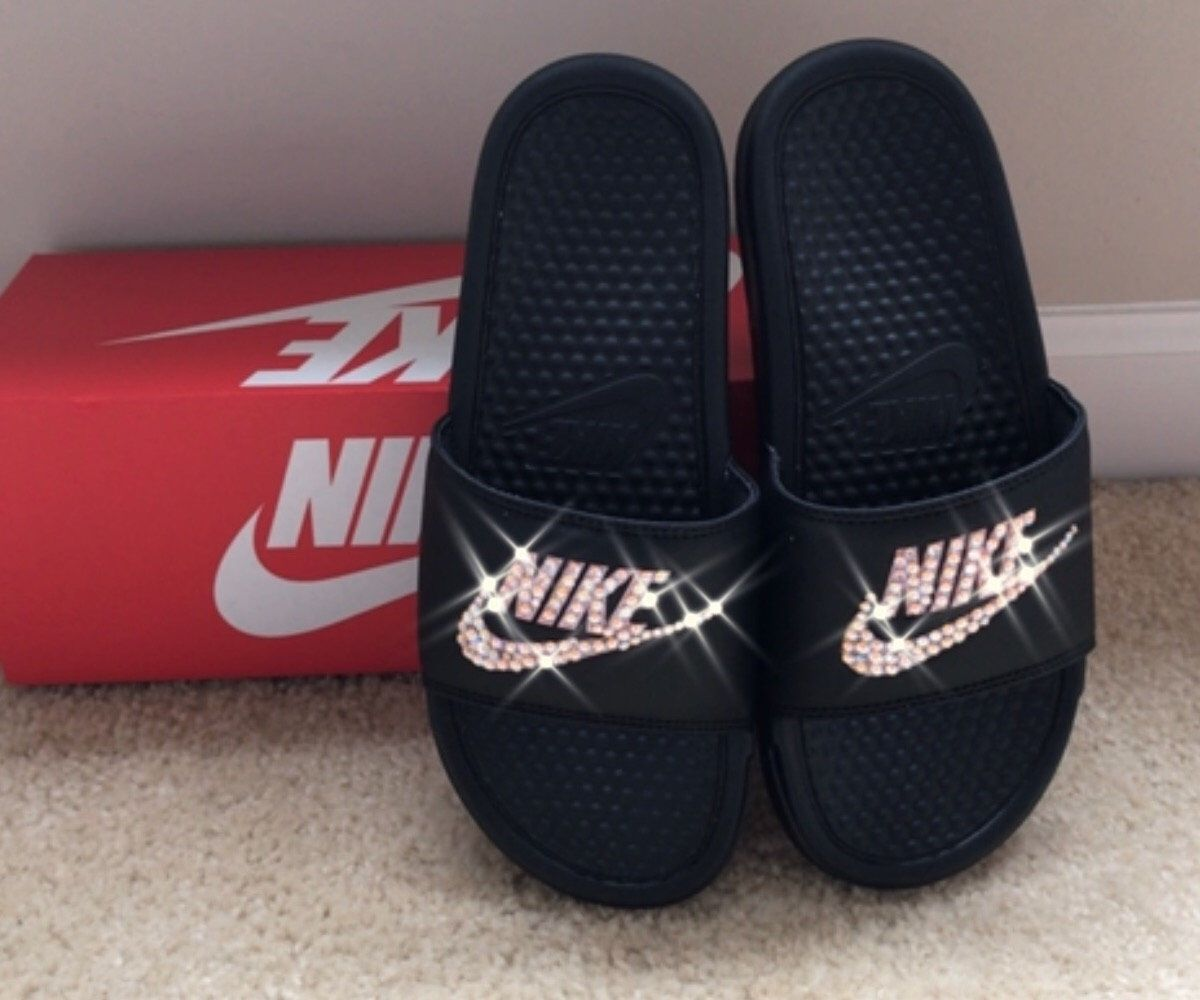Black and Rose Gold Nike Slides with Swarovski Crystals by ...