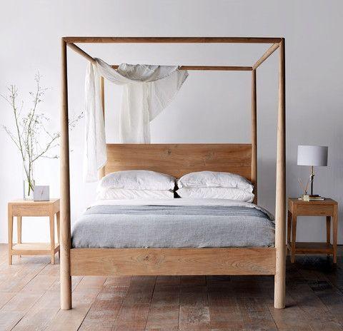 Himalaya Bed Teak NATURAL Four-post Bed Australian King Size | small ...