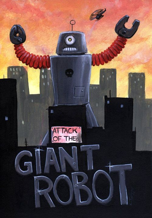 Giant Robot Sci Fi B Movie Style A4 Print by hoodooartstudio