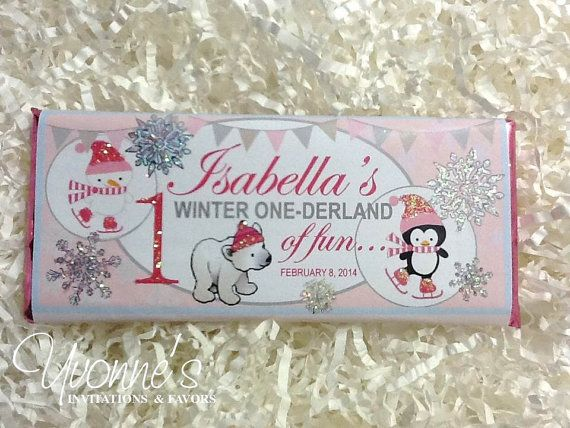 Winter 1st Birthday Candy Bar Wrappers Assembled With Etsy Candy Bar Birthday Birthday Candy Bar Wrappers Birthday Chocolate Bar Wrappers