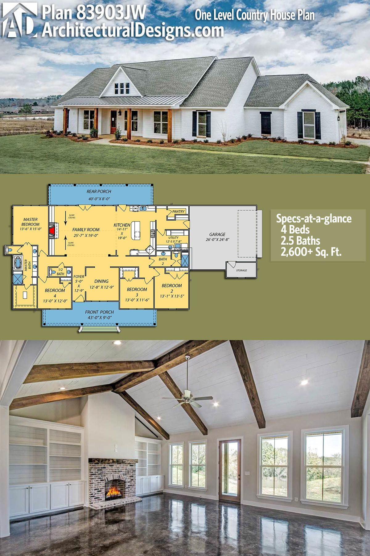 Plan 83903JW: One Level Country House Plan | Grundrisse, Bauernhaus ...