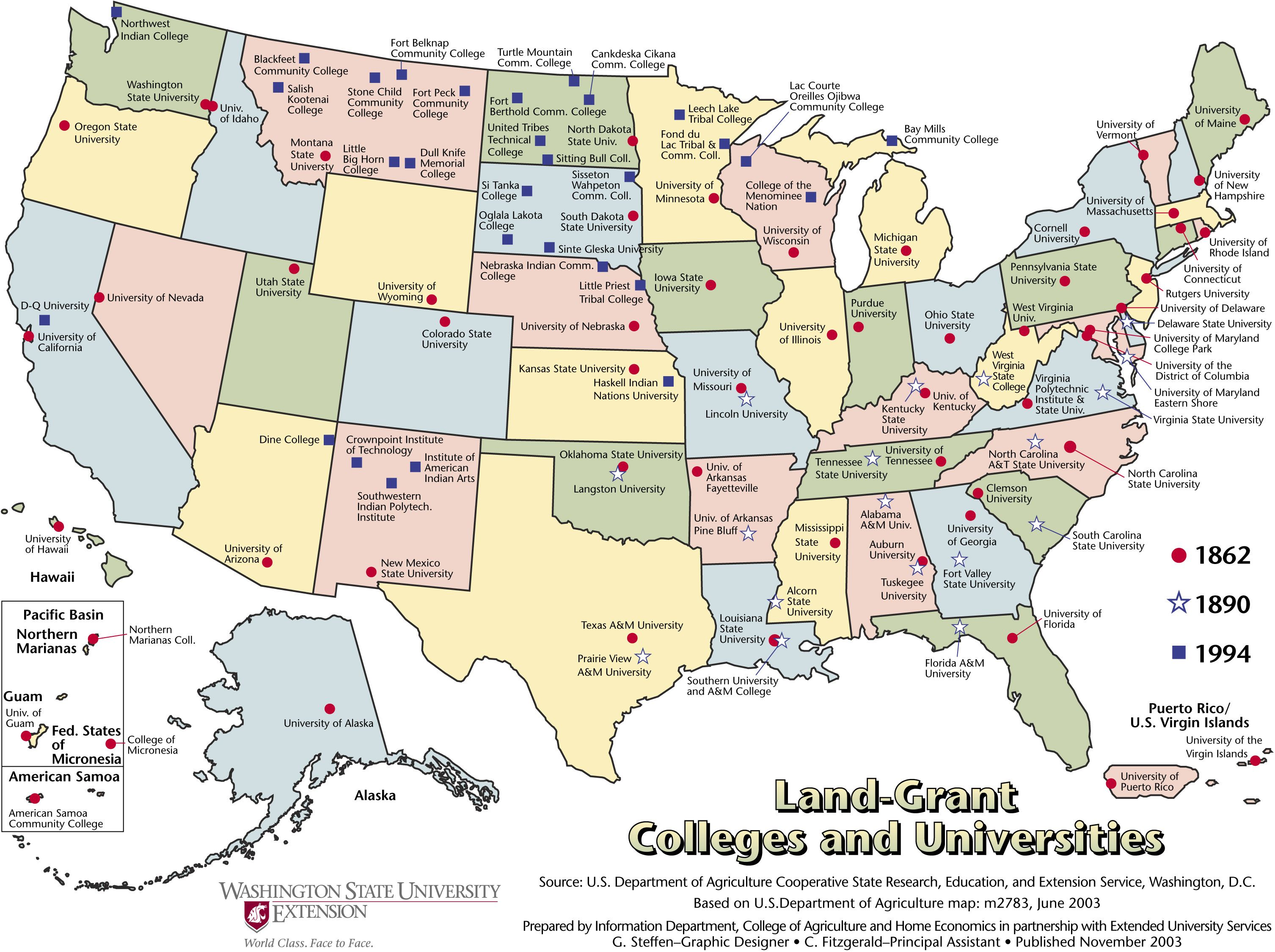 Land Grant Colleges And Universities In The United States Maps - Us map of universities