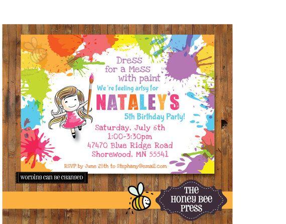 art party invitation splatter paint birthday party invitation
