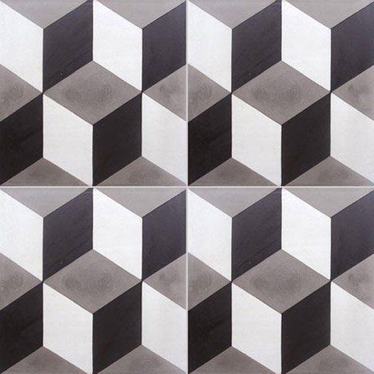 Carreau de ciment int rieur cube 3d premium blanc et noir 20 x 20 cm d co perso tiles - Texture carrelage blanc ...