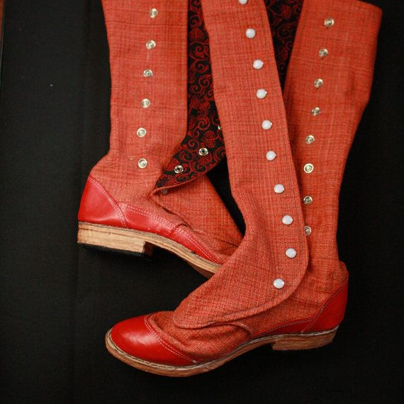 Slouchy Victorian Snap Boots Knee High with Leather Soles by uku2, $252.00
